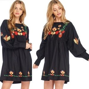 PreOrder  Black Embroidered Boho Chic Dress